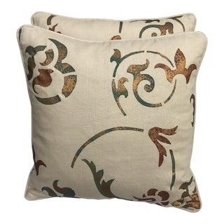Hand Stenciled Linen Pillows - a Pair