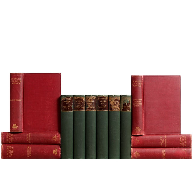 Antique Red & Green Dickens Books - S/12 - Image 1 of 2