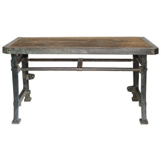 Industrial Iron and Wood Worktable From France