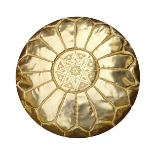 Gold Leather Moroccan Pouf