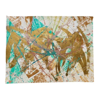 Martha Holden Abstract Green & Gold Collage