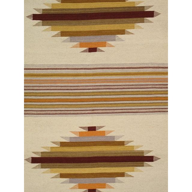 Modern Reversable Tan Wool Kilim Rug - 5' x 8' - Image 2 of 2