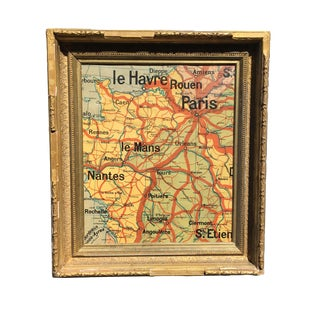 Antique French Map Fragment in Distressed Gilded Frame
