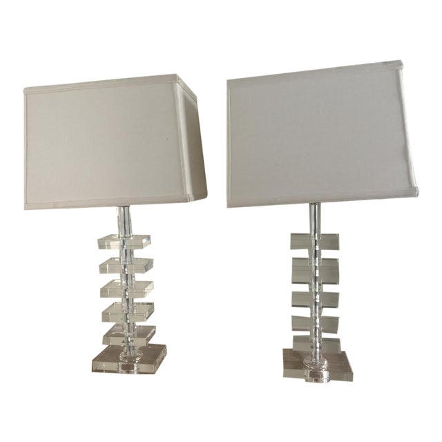 Glass Square Column Table Lamps - A Pair - Image 1 of 8