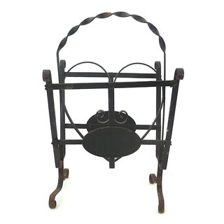 Vintage Wrought Iron Black Magazine Rack
