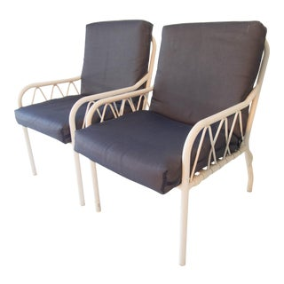 Vintage Late-Modern Blue & White Resilient Outdoor Vinyl Fabric Club Chairs - a Pair