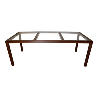 "84"" Walnut & Brass Parsons Dining Table"