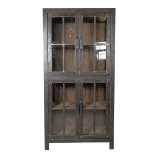Reclaimed Iron And Wood Glass Door Cabinet
