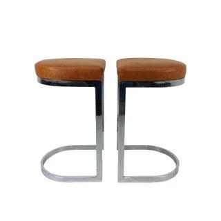 Milo Baughman Style Flat Bar Chrome Cantilever Bar Stools - A Pair