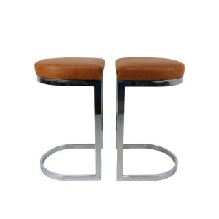 Milo Baughman Style Flat Bar Chrome Cantilever Bar Stools - A Pair