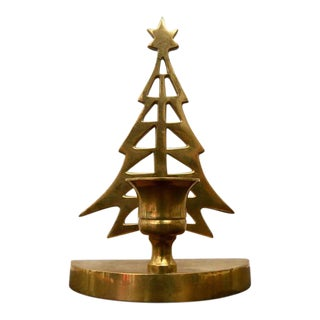 Vintage Brass Christmas Tree Taper Candle Holder