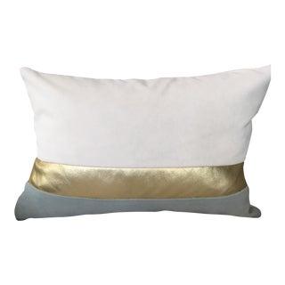 Seafoam, Cream & Gold Lumbar Pillow