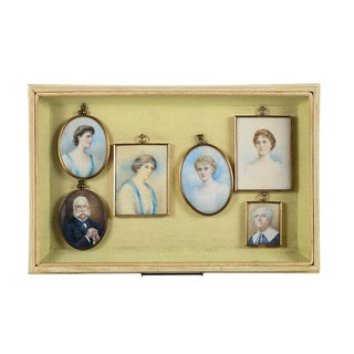 19th Century Painted Miniature Portraits in Shadowbox