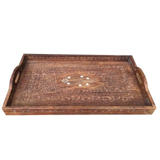 Vintage Indian Artisan Carved & Inlaid Wood Serving Tray