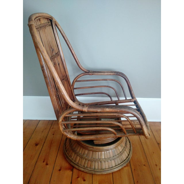 Vintage High-Back Bamboo Lounge Chair - Image 3 of 8