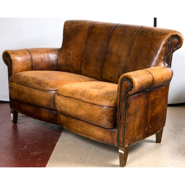 Vintage French Distressed Art Deco Leather Sofa - Image 3 of 9