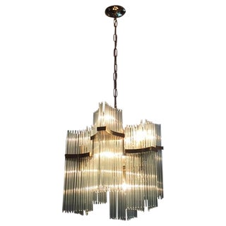 Lightolier Brass & Glass Sciolari Chandelier