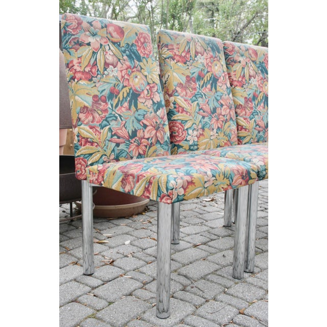 Image of Milo Baughman Style Mid-Century Modern Chrome Dining Chairs- Set of 6