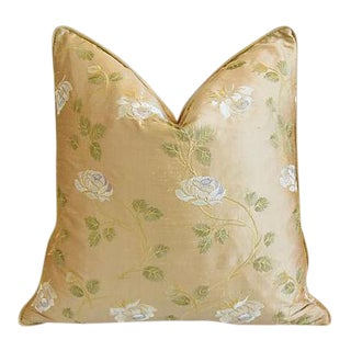 """Custom Tailored Embroidered White Rose Silk Feather/Down Pillow 24"""" Square"""