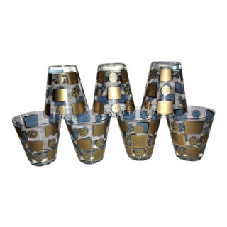 Mid-Century Barware Blue & Gold Atomic Design Tumblers Glasses - Set of 7