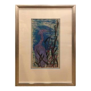 "Daga Ramsey Mid-Century ""Blue Heron"" Woodcut Print"
