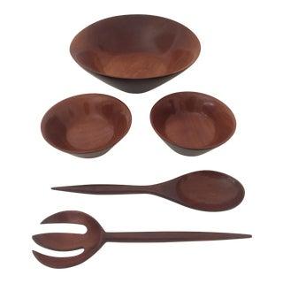 5-Piece Haitian Mahogany Salad Bowl Set