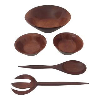 5-Piece Haitian Mahogany Salad Bowl Set