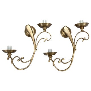 Vintage French Brass Scroll Sconces - Pair