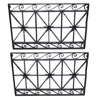 Antique Wrought Iron Black Wall Grates - Pair