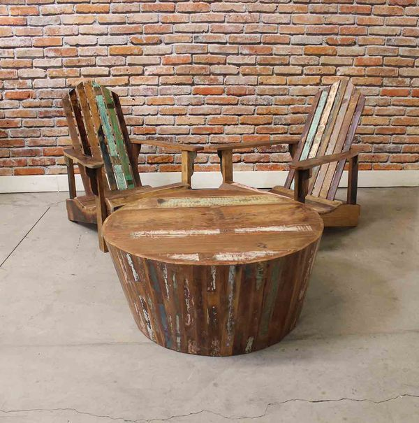 Reclaimed Wood Adirondack Chairs & Table Set