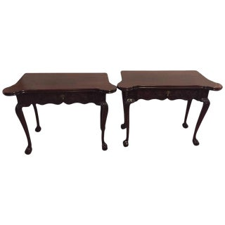 Period 1820s Irish Card or Tea Tables Solid Mahogany with Later Carvings - A Pair
