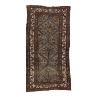 Distressed Antique Persian Malayer Rug with Modern Industrial Style, 3' x 5'9