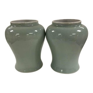 Asian Vintage Celedon Temple Jars with Crackle Glaze - A Pair