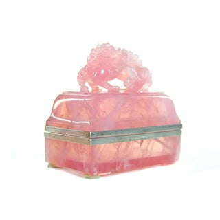 Pink Quartz Crystal Box with Foo Dog Finial