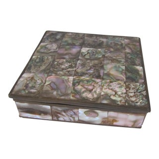 Mid Century Abalone & Brass Hinged Box
