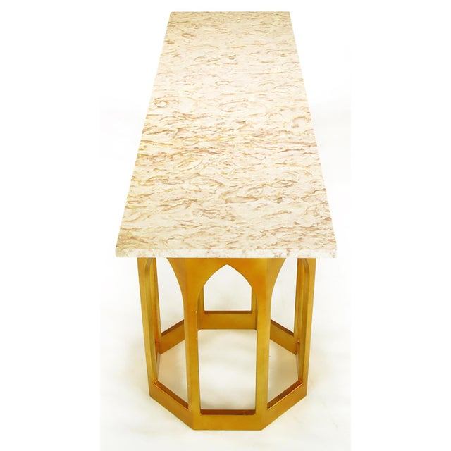 Marble Top Console Table with Twin Gilt Octagonal Bases - Image 4 of 7