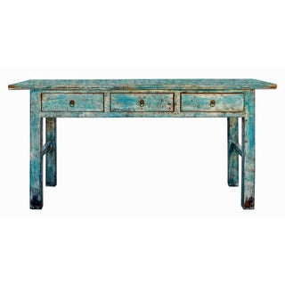 3-Drawer Altar Table in Distressed Blue