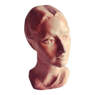 Vintage Artisan Sculpted Female Head Bust