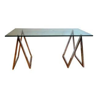 Modern Aluminum Sawhorse Leg Console Table or Desk