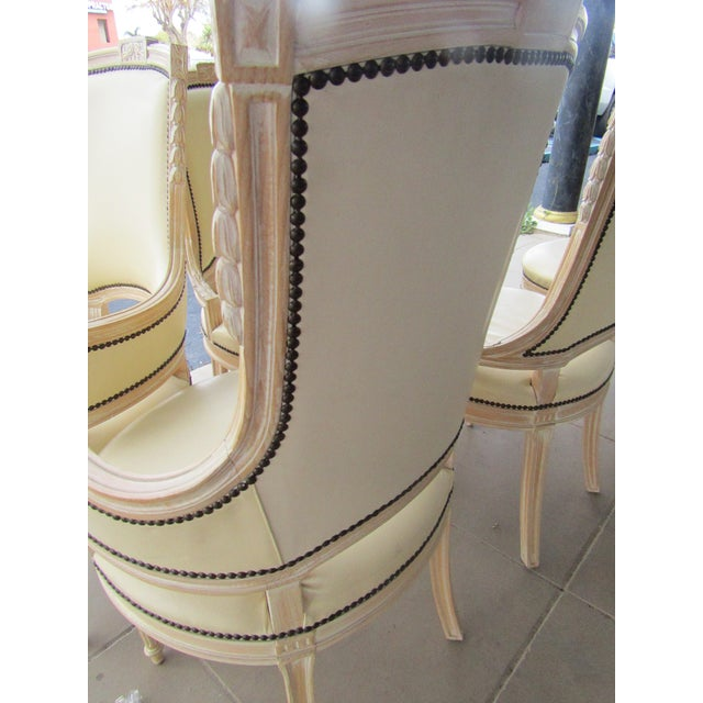 Cream White Carved Wood Dining Chairs - Set of 6 - Image 6 of 7