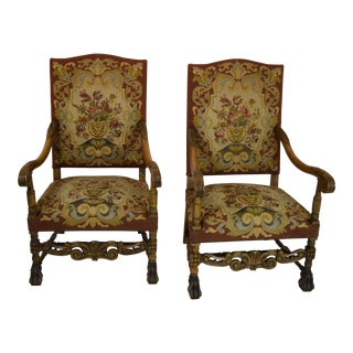 19th Century Antique Continental Needlepoint Armchairs - a Pair