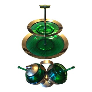 Gold & Emerald Glass Hors d'Oeuvre Servers