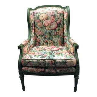 Floral Upholstery Louis XVI Style Wing Chair