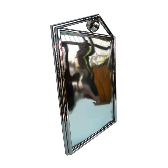 1980's Chrome Mirror With Pediment & Ball - Image 3 of 4