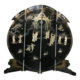 Large Hand Painted Oriental Screen with Mother of Pearl Accents