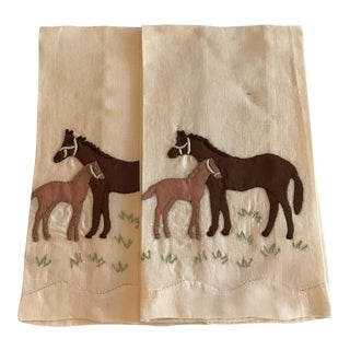 Vintage Horse Hand Towels - A Pair