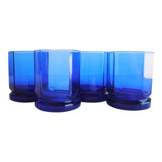 Vintage Cobalt Rocks Glasses - Set of 4
