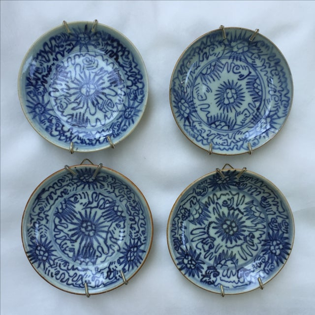Antique Blue & White Plates, Flower Pattern - 4 - Image 2 of 11