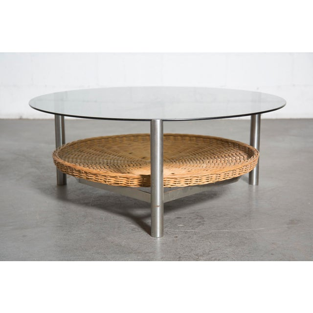Architectural metal and glass coffee table chairish for Architectural coffee table