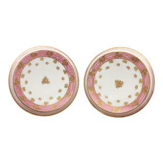 Nippon Moriage Pink Rose Plates - A Pair